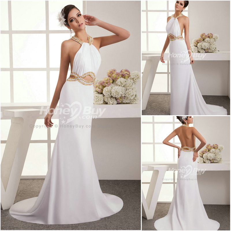 Backless White Prom Dresses