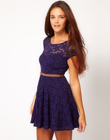 Black Lace Skater Dress River Island - Style 2017-2018