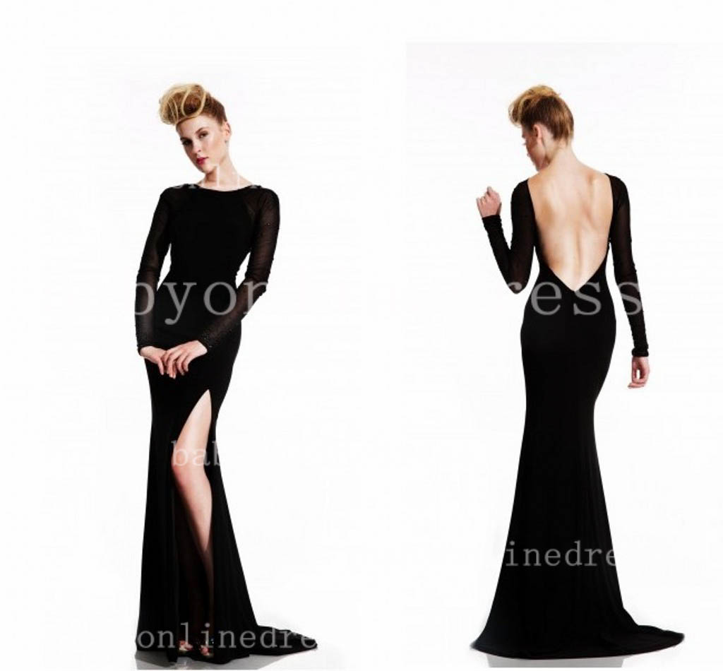 Black Long Sleeve Backless Prom Dress – Always In Fashion For All ...