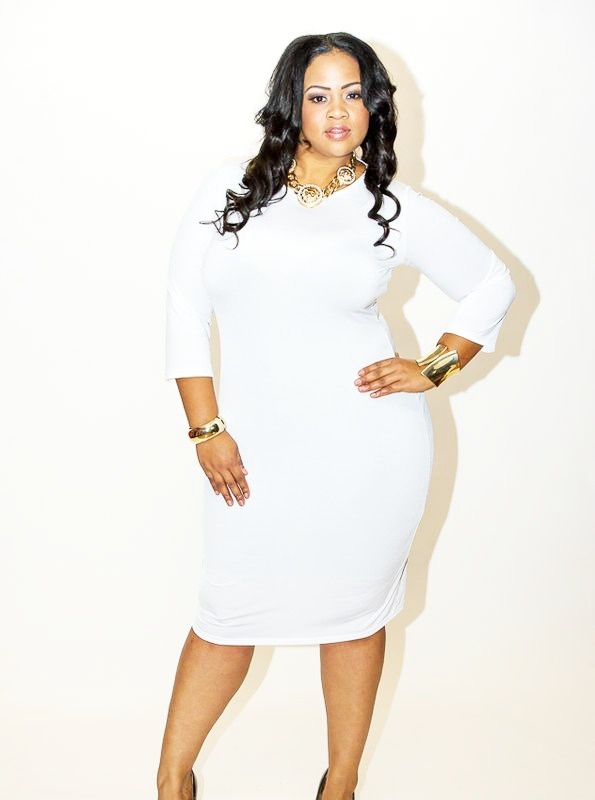 White Bodycon Plus Size Dress Heartpulsar