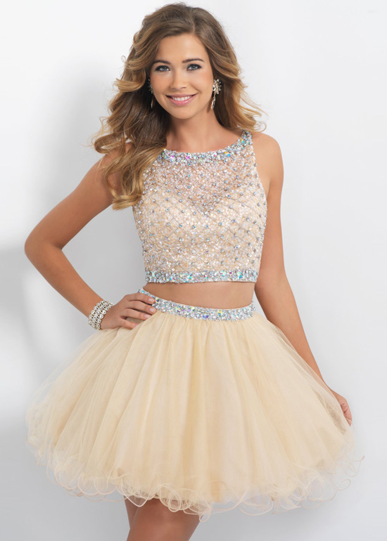 2 piece short prom dresses 2018 cheap