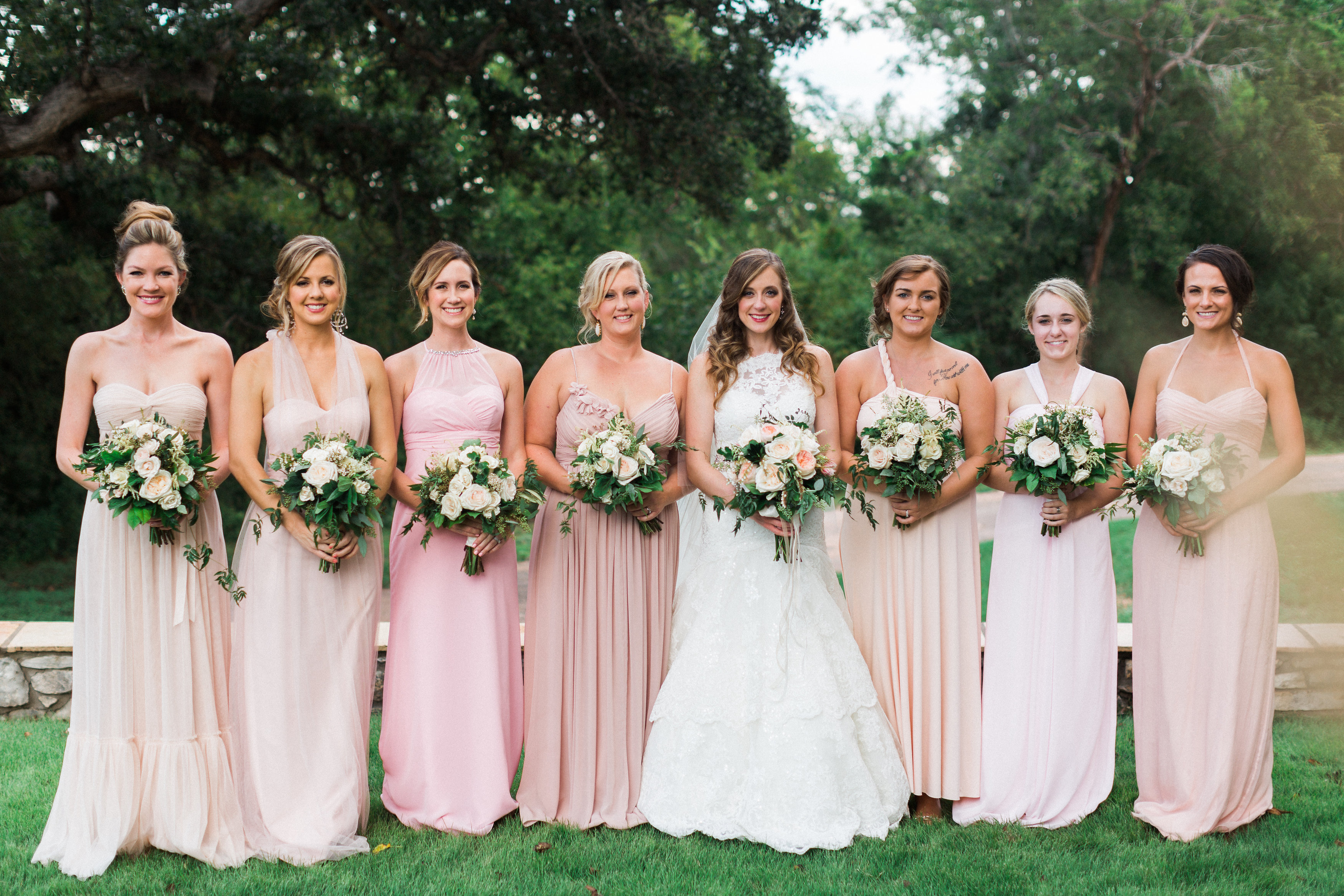 Different shades of blush bridesmaid dresses and clothes for Champagne pink wedding dresses