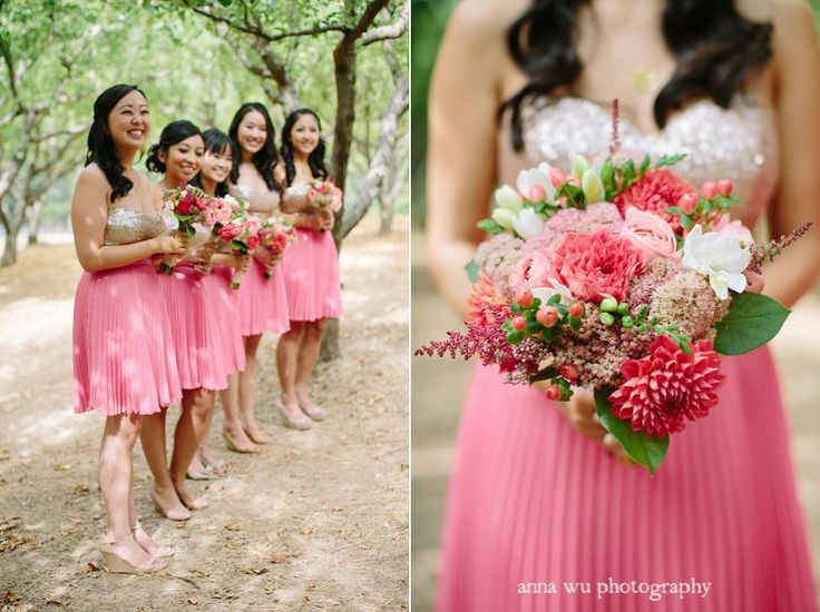 Short Pink Gold Bridesmaid Dresses