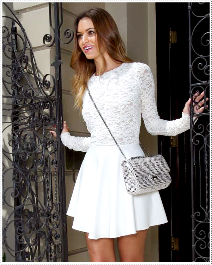 White Lace Dresses Long - Dress