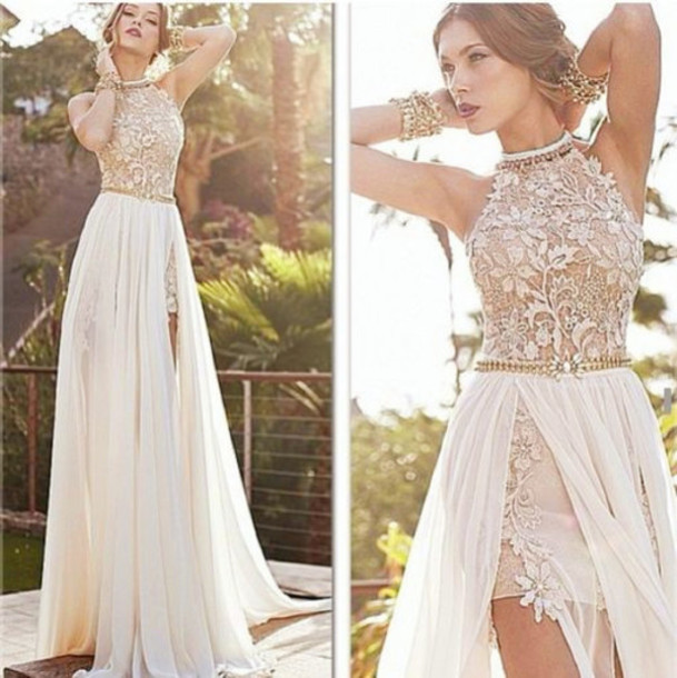 White Formal Lace Dress - Dress