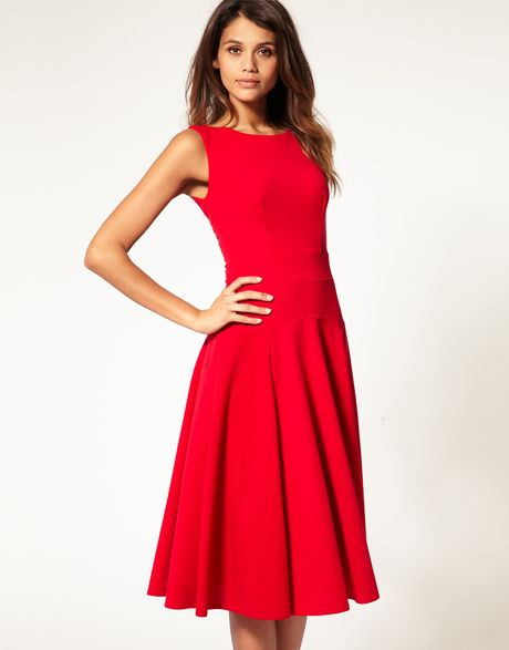 Long Sleeve Fit And Flare Midi Dress - Make Your Life Special