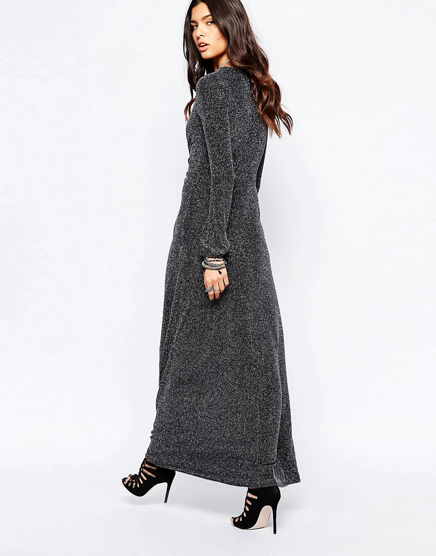 Long Sleeve Glitter Maxi Dress - Online Fashion Review