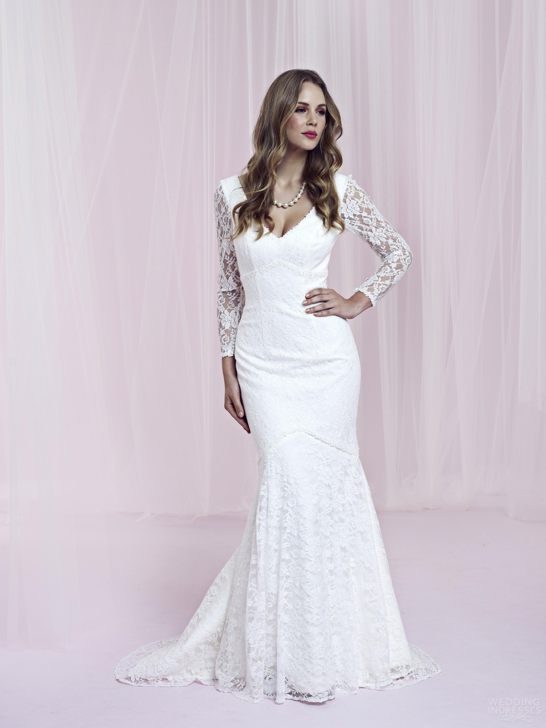 Long Sleeve Lace Flare Dress - Beautiful And Elegant
