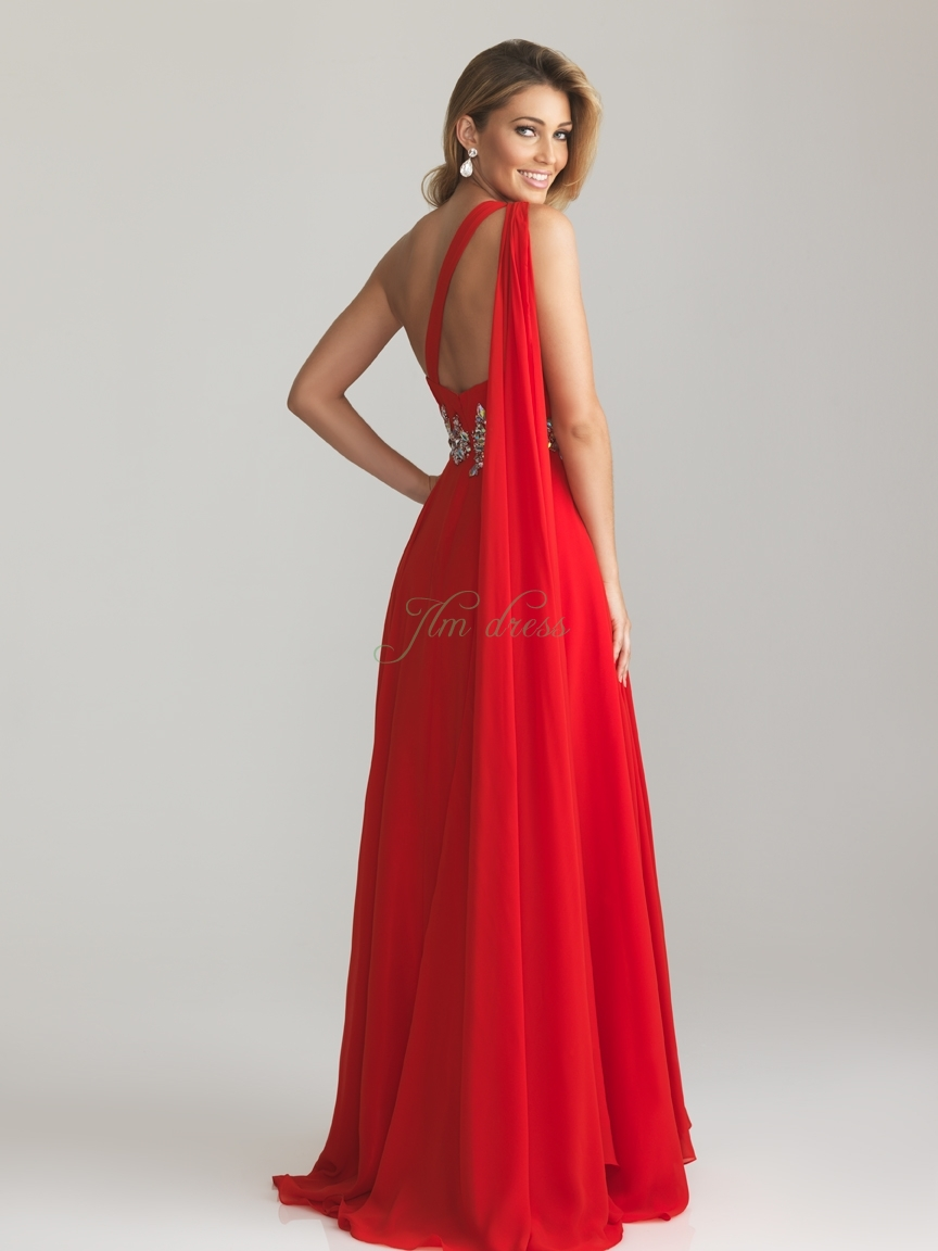 One Shoulder Red Bridesmaid Dresses : Make Your Evening Special