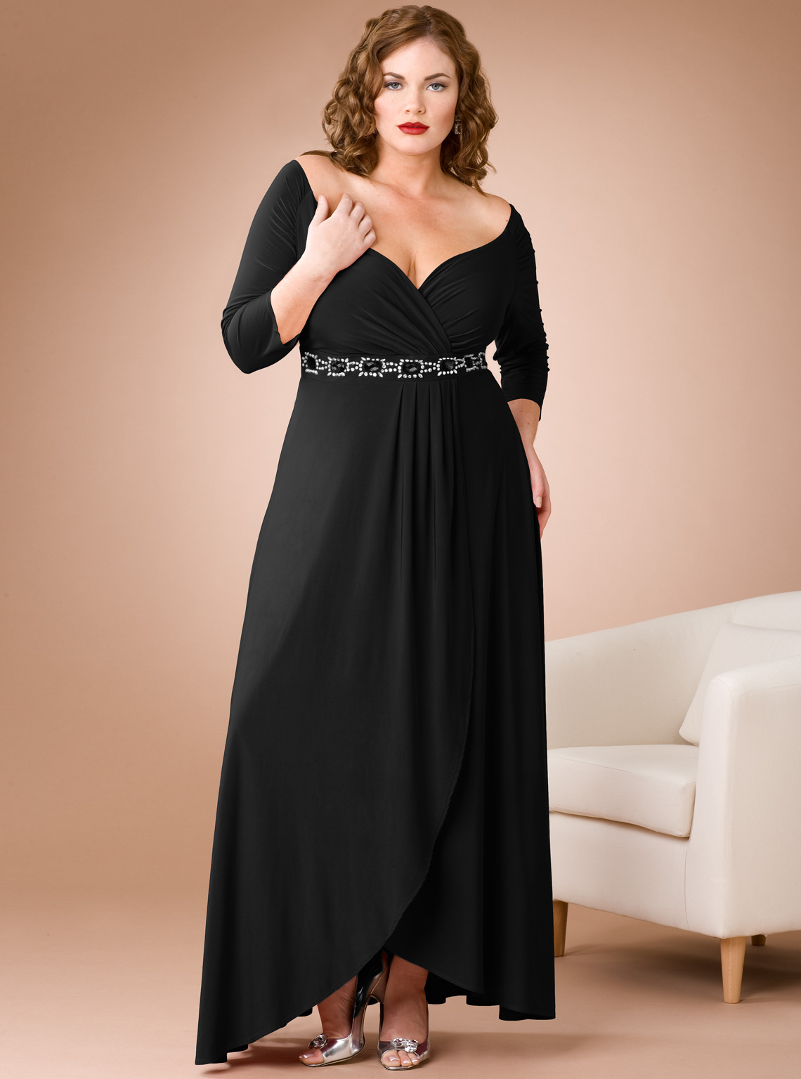 Plus Size Formal Dresses with Black Jacket