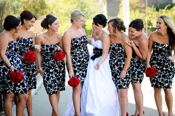 Red black and white bridesmaid dresses and fashion week for Black shoes with wedding dress