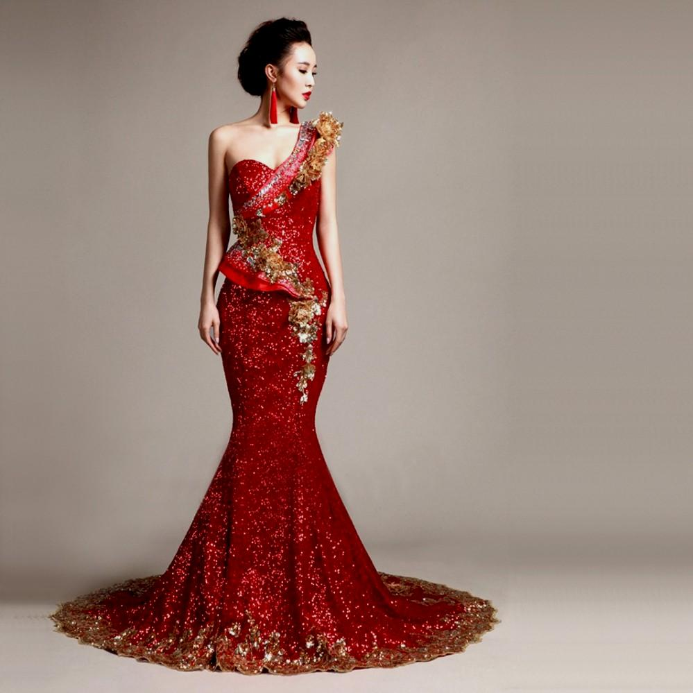 Red gold bridesmaid dresses make you look like a for Red and gold wedding dress