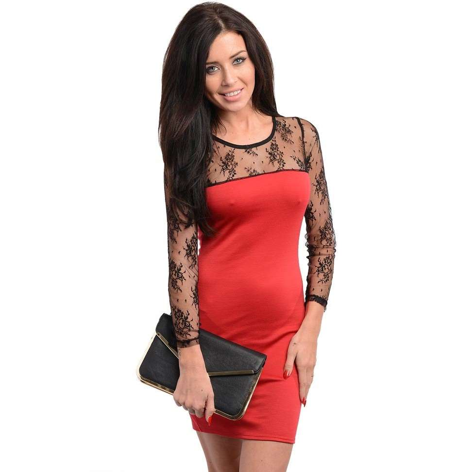Red With Black Lace Dress And Popular Styles 2017