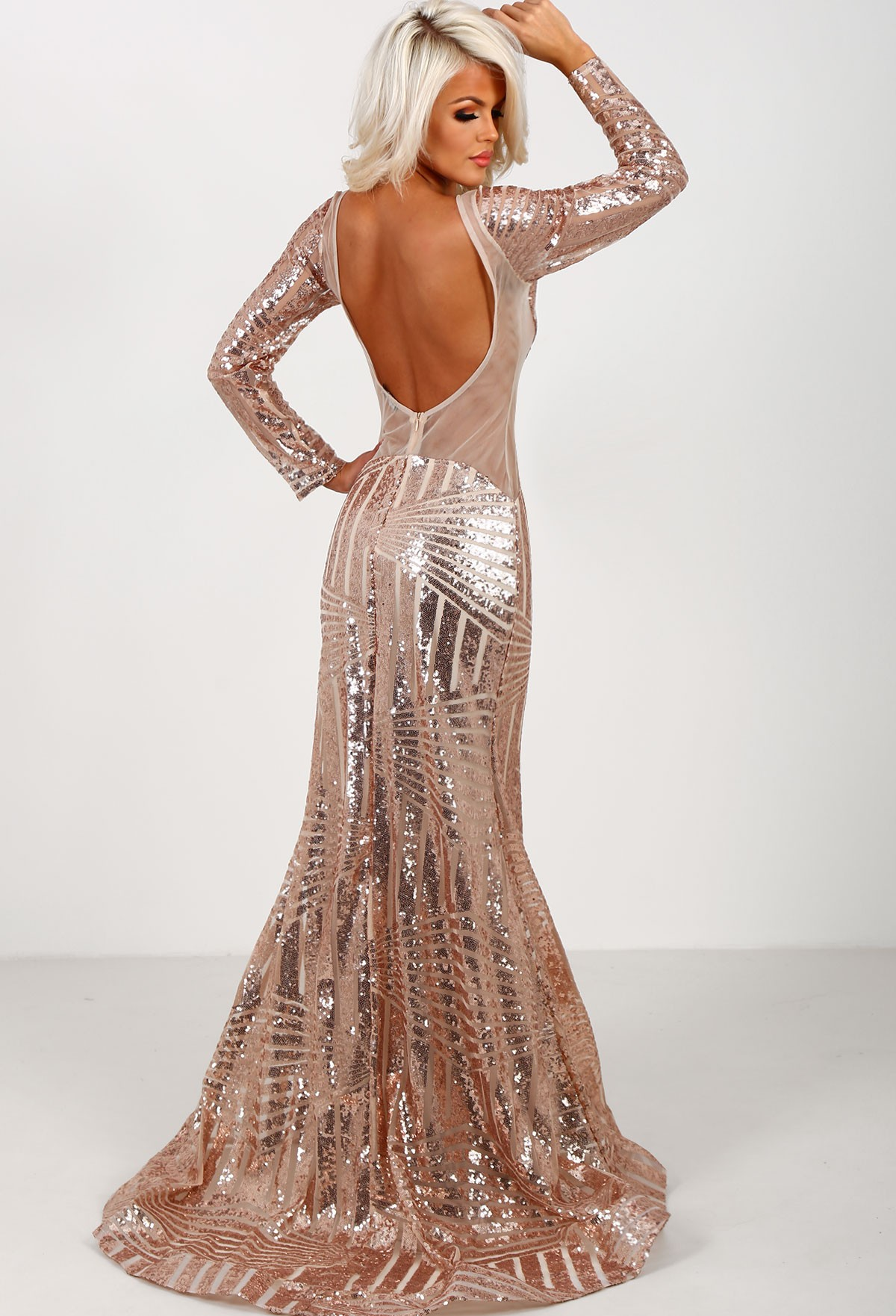 Rose Gold Sequin Dress Long Sleeve And Popular Styles 2017