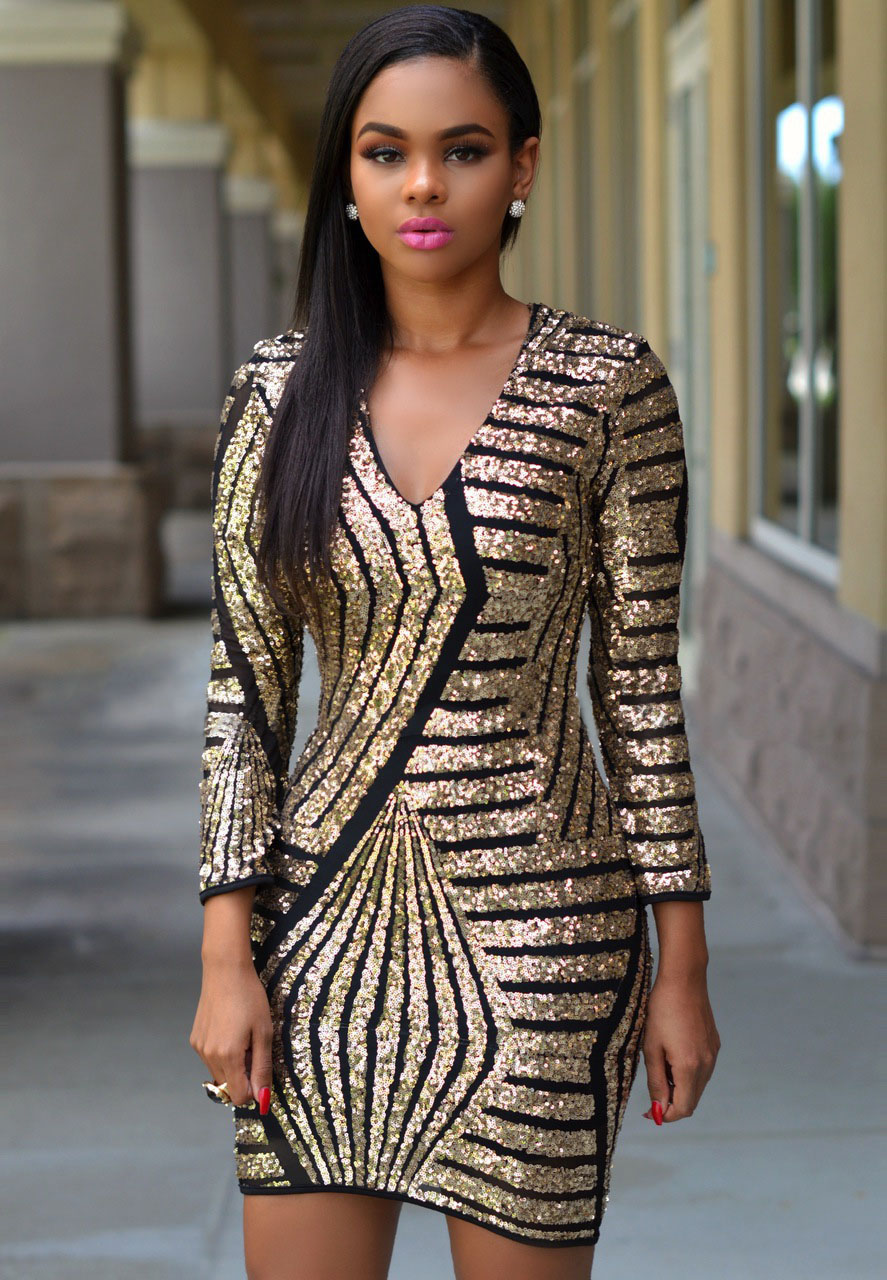 Sequin Black And Gold Dress – Oscar Fashion Review ...