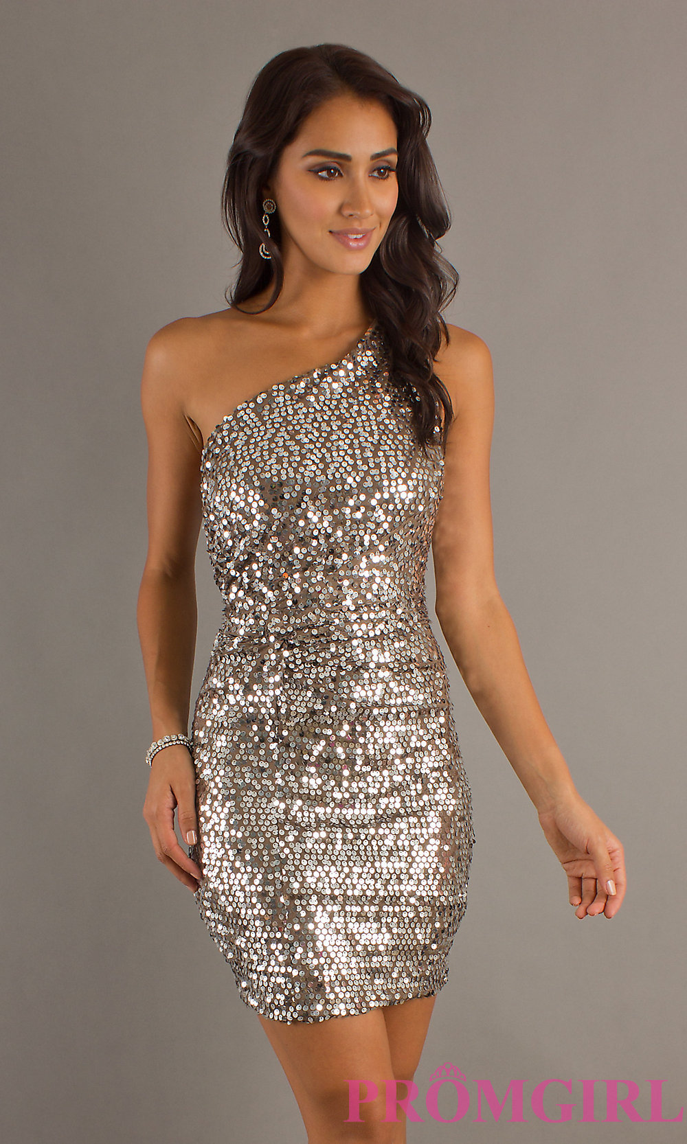 Ivory Glitter Fitted High Neck Short Dress 55191