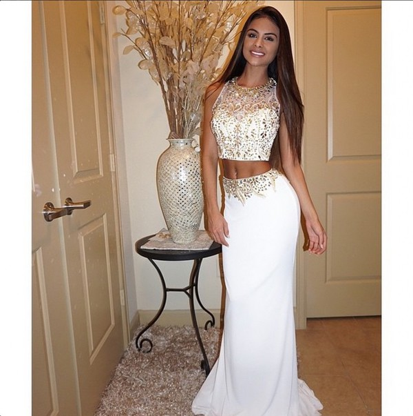Two Piece White And Gold Prom Dress : A Wonderful Start – Always ...