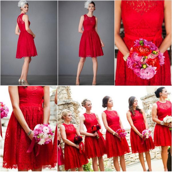 Dark Red Lace Bridesmaid Dresses & Popular Choice 2017