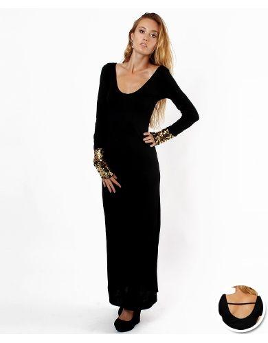 Long Sleeve Glitter Maxi Dress - Online Fashion Review