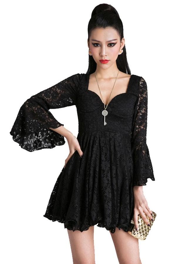 Long Sleeve Lace Flare Dress - Beautiful And Elegant
