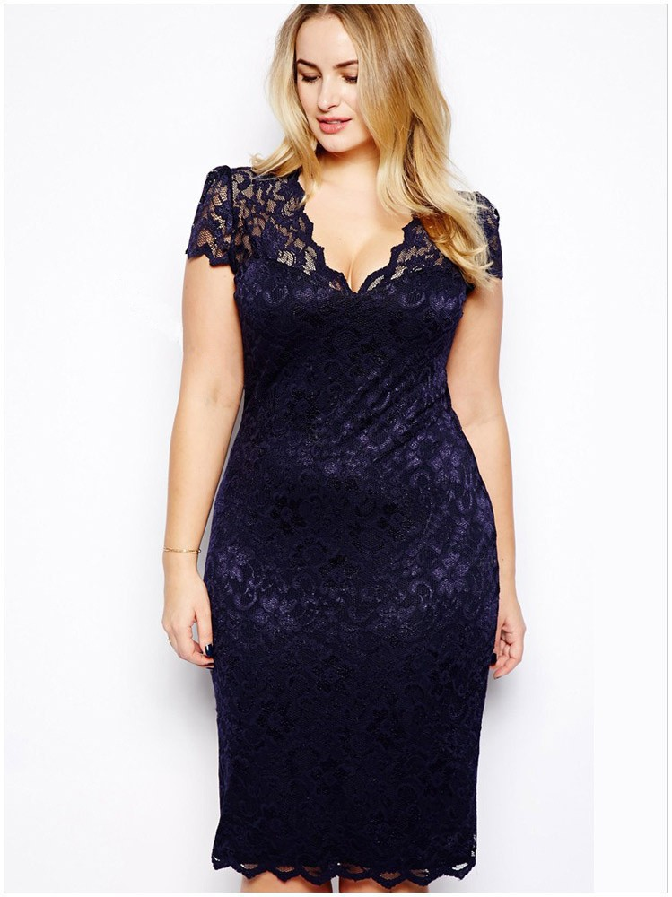 Plus Size Blue Bodycon Dress : Make Your Evening Special