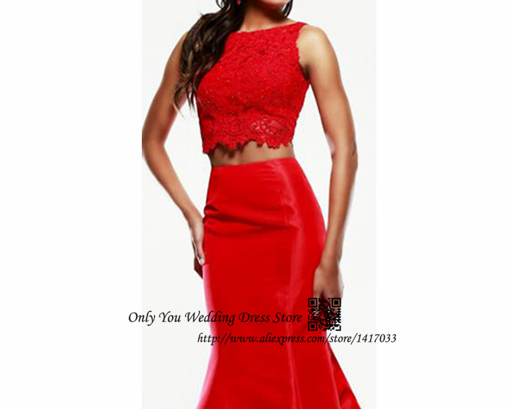 Red Lace Two Piece Prom Dress & Style 2017-2018