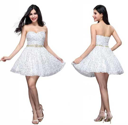 White Sparkly Short Dress - Fashion Outlet Review
